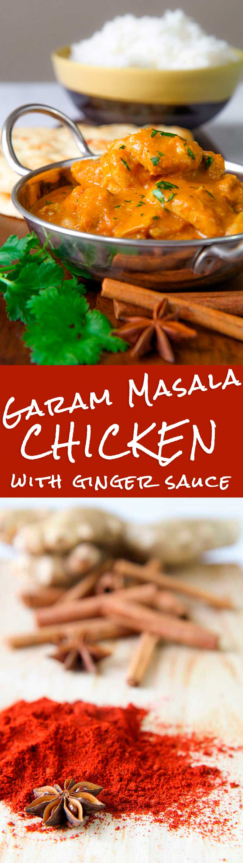 GARAM MASALA CHICKEN with fresh ginger and beer sauce