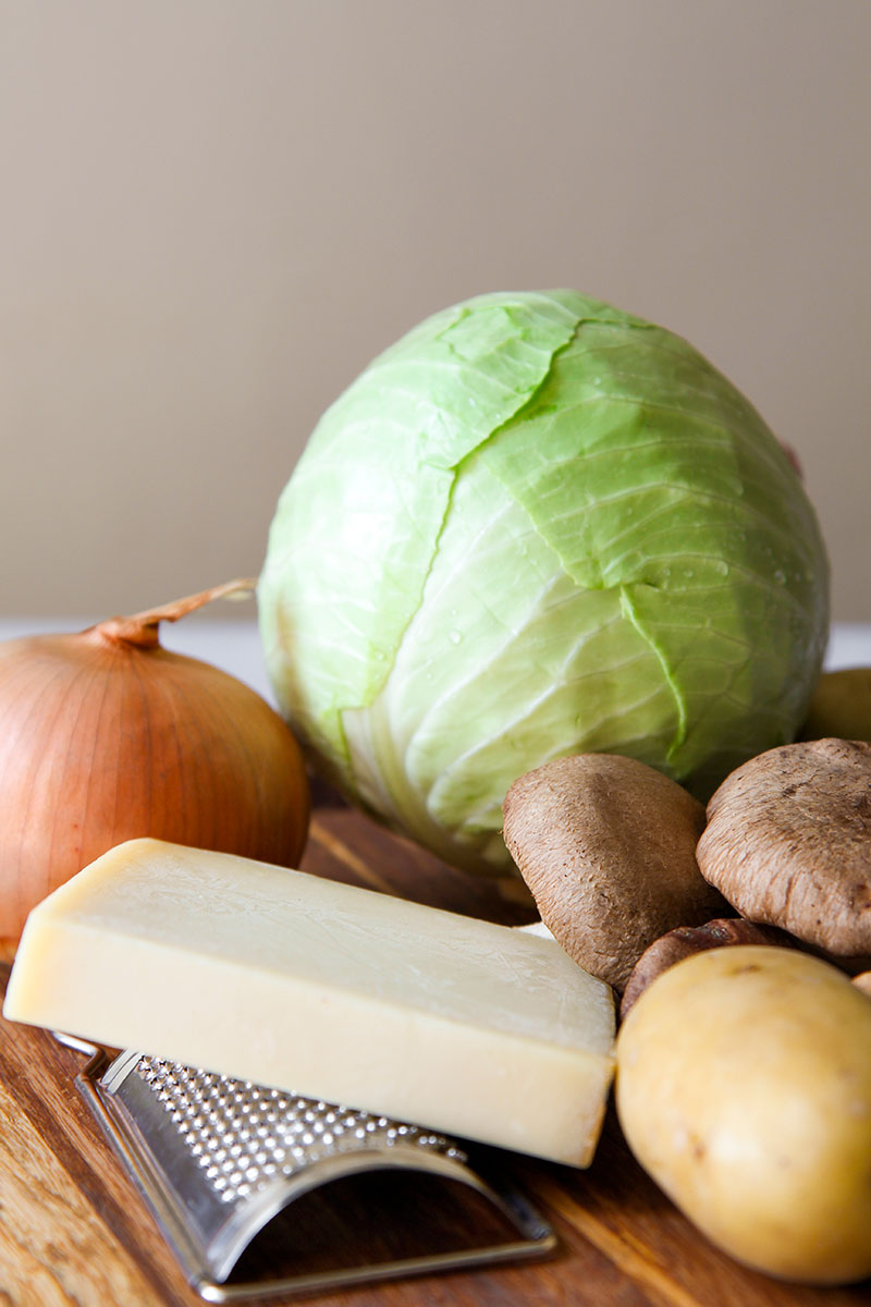 GREEN CABBAGE SOUP with caramelized onions, mushrooms and cheese