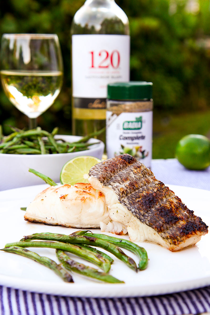 GRILLED SEA BASS with white wine and herbs marinate