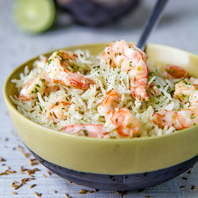 SHRIMP RICE SALAD with lime and cumin dressing