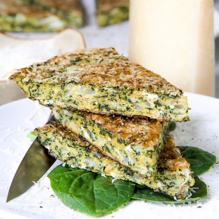 FRITTATA RECIPE with spinach, goat cheese and pecorino crust