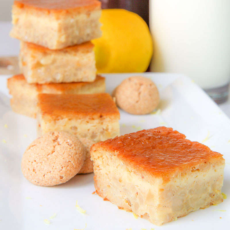 ITALIAN RICE CAKE with almonds and Amaretti cookies