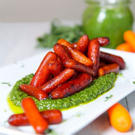 ROASTED CARROTS with balsamic and arugula pesto
