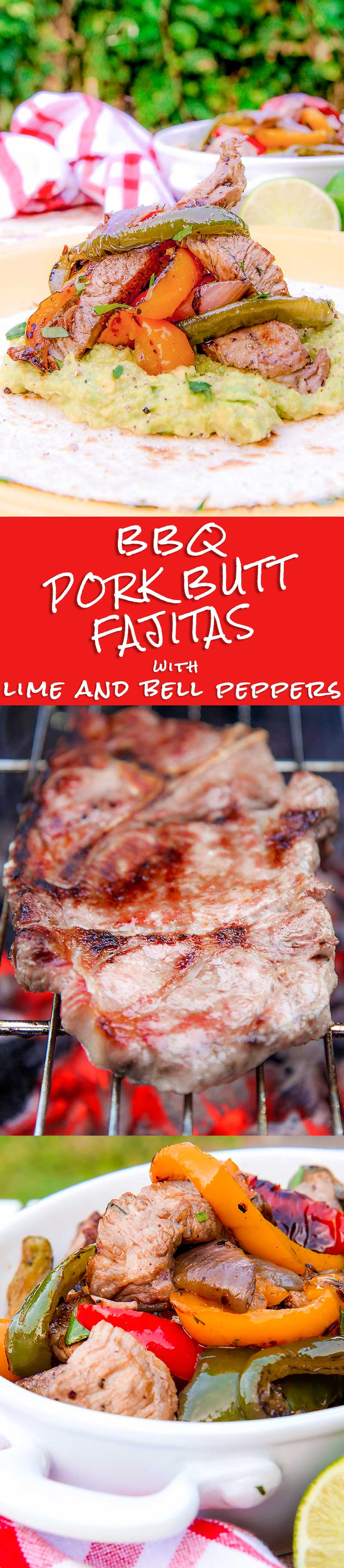 BBQ PORK FAJITAS marinated with beer and lime juice