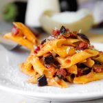EGGPLANT PASTA with Italian prosciutto