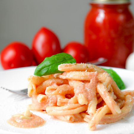 RICOTTA CHEESE PASTA with tomato sauce, basil and pine nuts