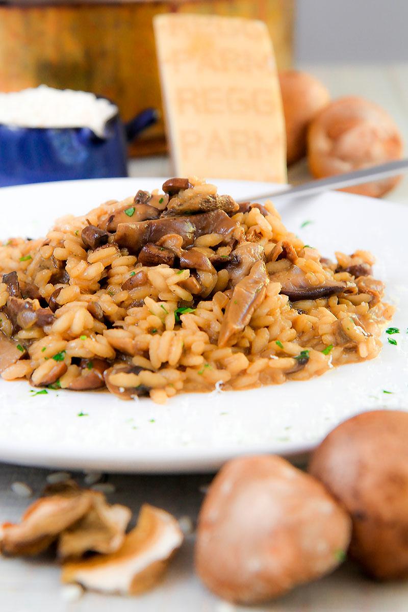 MUSHROOM RISOTTO with shiitake, cremini, and dried porcini