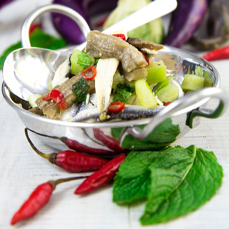 WHITE ANCHOVIES SALAD with eggplants and tomatillos
