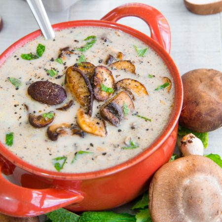 SERVING CREAM OF MUSHROOM SOUP After 1 hour, add the half and half and stir well, then let reach slowly the simmering point. Depending on your preference, blend all the cream of mushroom soup, just half, or not at all. Finish the soup adding minced fresh mint and grated Havarti, and a sprinkle of black pepper. Serve hot with bread crostini or boiled potatoes aside.