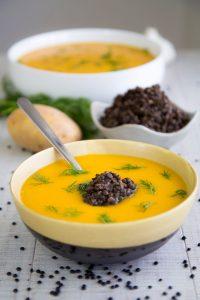 BUTTERNUT SQUASH SOUP with Beluga lentils - vegan and detox recipe