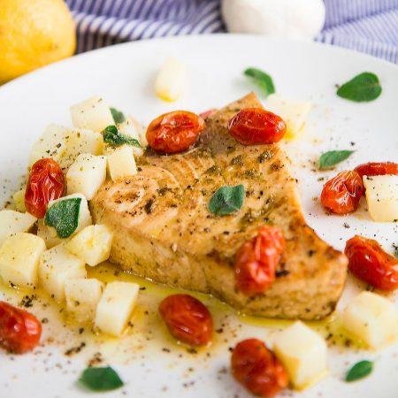PAN-SEARED SWORDFISH with Italian Salmoriglio marinate