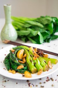 GAI LAN (CHINESE BROCCOLI) STIR FRY with Sichuan pepper and garlic