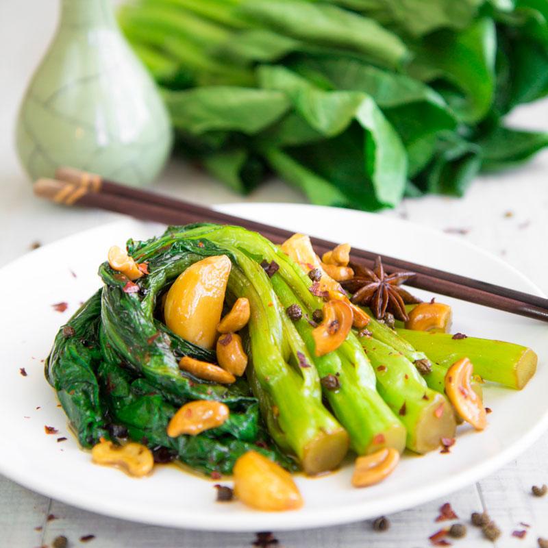 GAI LAN (CHINESE BROCCOLI) STIR FRY with Sichuan pepper and garlic