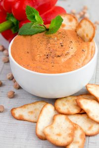 ROASTED BELL PEPPERS HUMMUS with goat cheese and mint