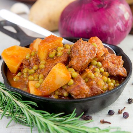 ITALIAN PORK SHOULDER STEW with potatoes and peas