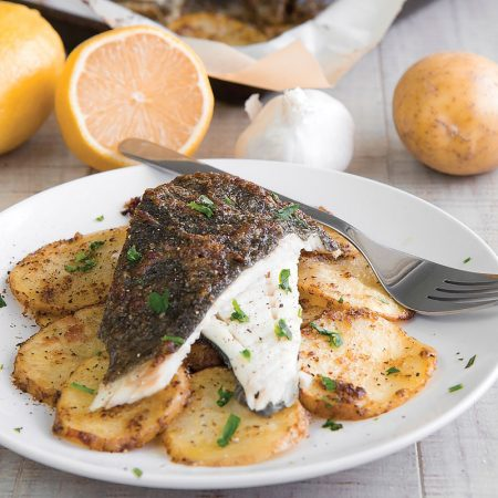 BAKED TURBOT with lemon mustard sauce and potatoes