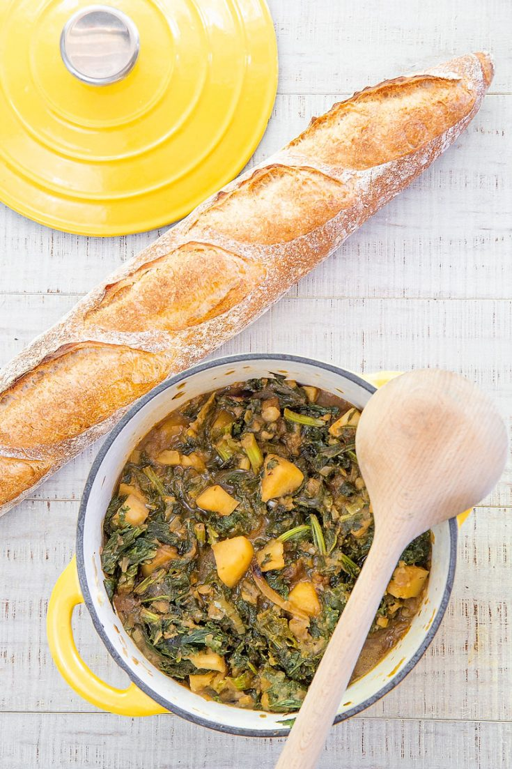 SAUTEED MUSTARD GREENS with potatoes and leeks