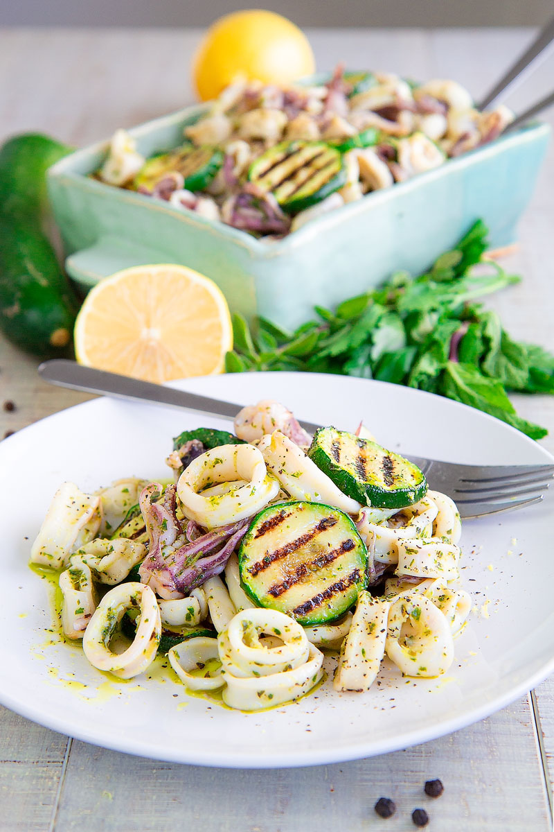 CALAMARI SALAD with fresh herbs Salmoriglio - Healthy and Tasty!