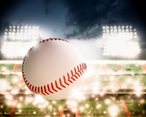 %name Flying baseball Stock Photo