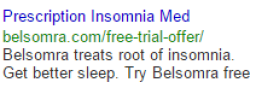 Boring insomnia ad in google search