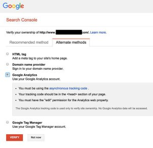 Google search console alternate methods of verification