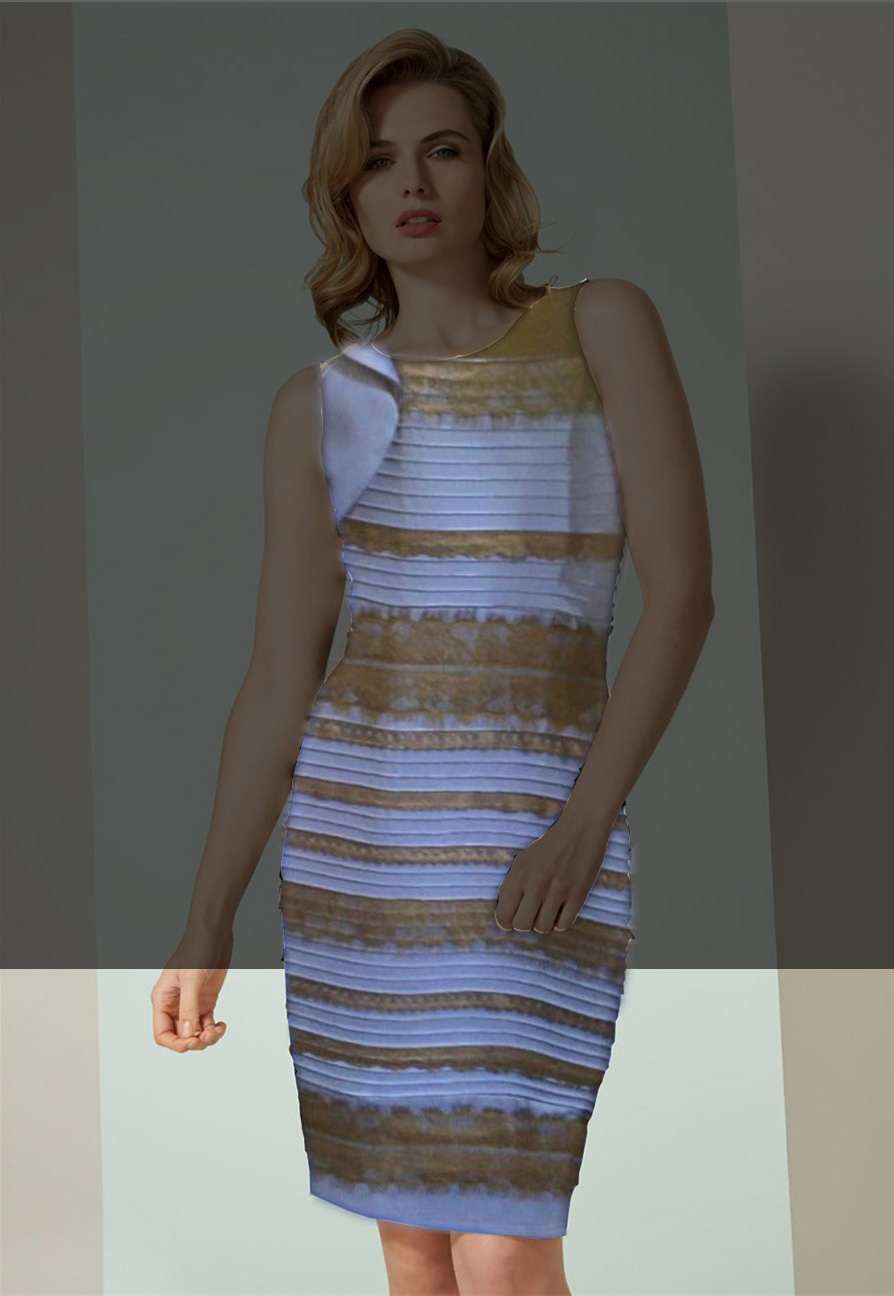 The dress is blue or white - 2 But Set Out Above And Below Rather Than Right And Left Many Will See The Dress As Blue And Black At The Bottom And White And Gold At