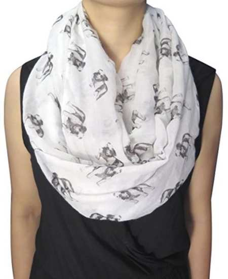 Lina & Lily Sketch of Dogs Print Women's Infinity Scarf