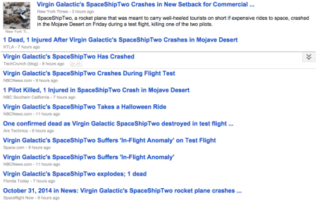 Virgin Galactic's SpaceShipTwo Explosion Headlines