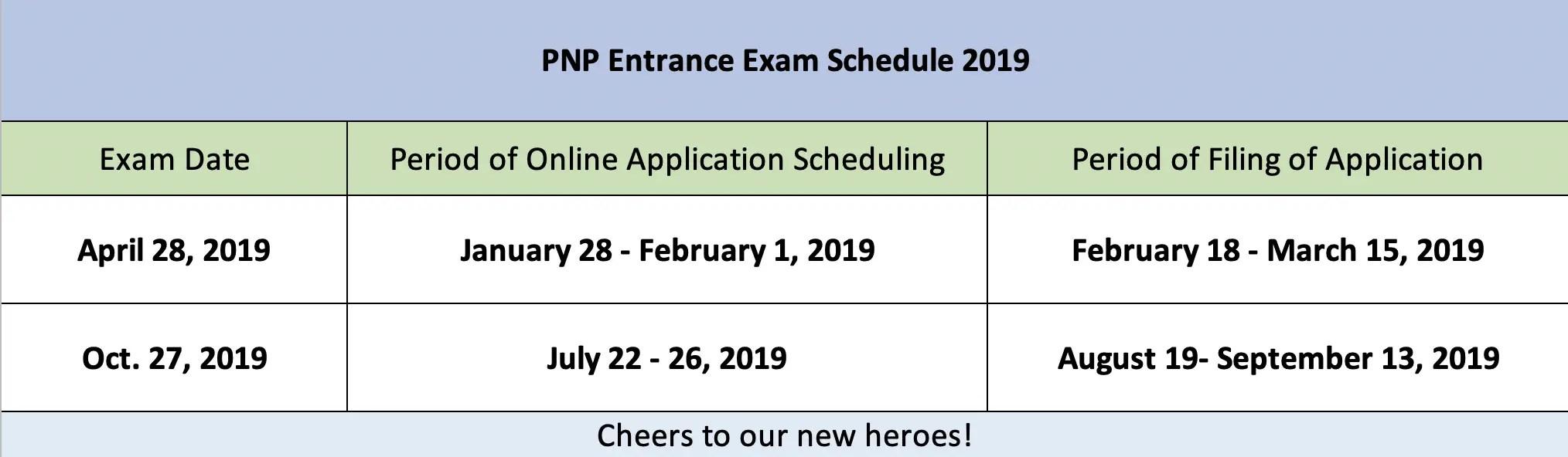pnp entrance exam online schedule 2019