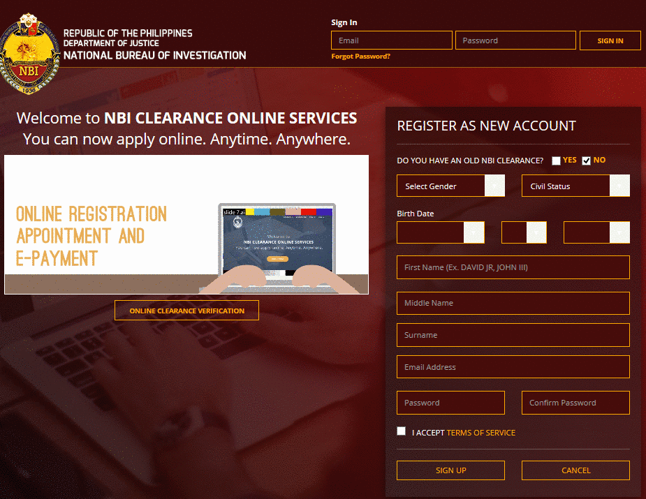 nbi clearance online application process requirements