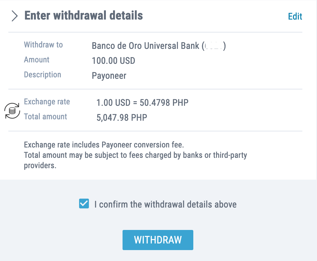 how to withdraw money from payoneer to bdo