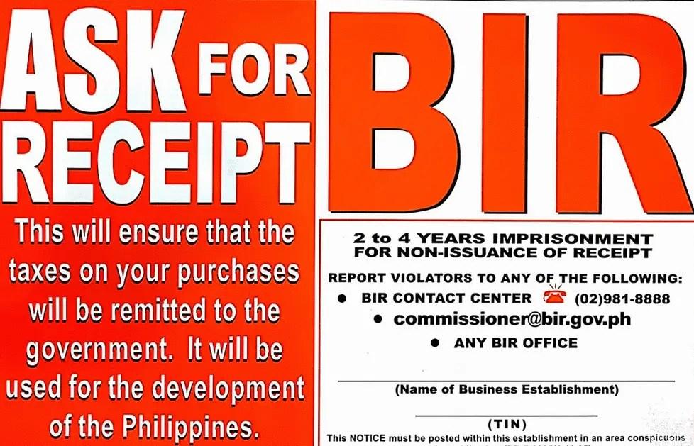 ask for receipt bir notice