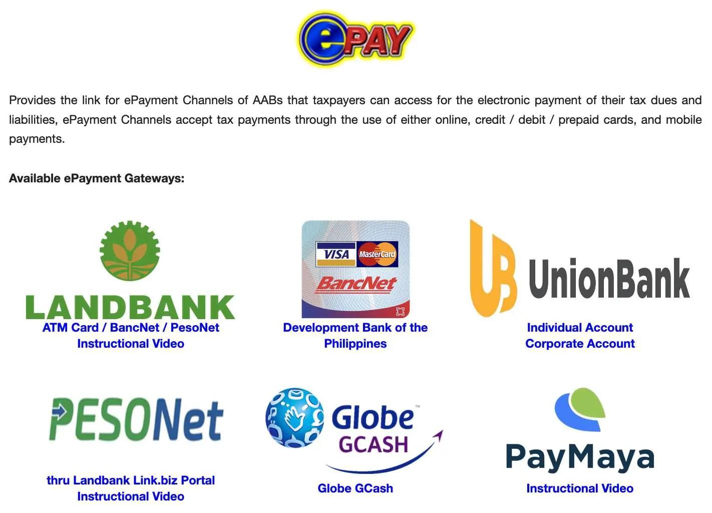 BIR payment centers