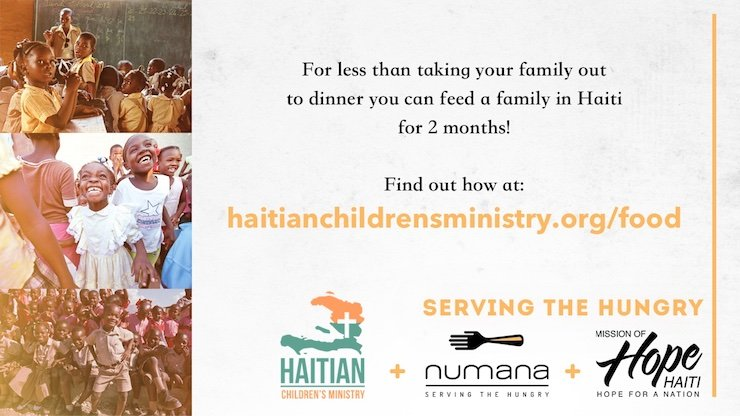 For less than taking your family to dinner, you can feed a family in Haiti for 2 months.