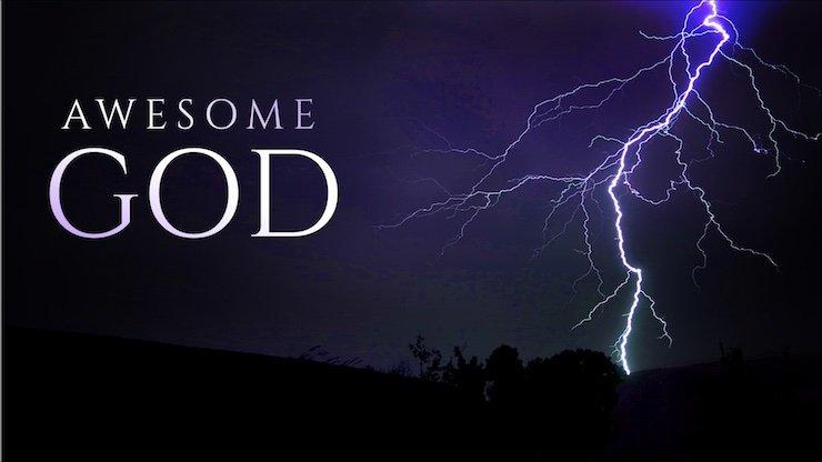 Awesome God landscape with bolt of lightning