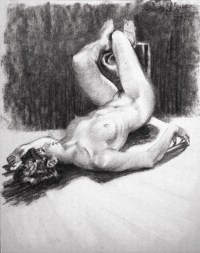 Original Nude Figure 4-27 Drawing of Toni by Phil Roberts