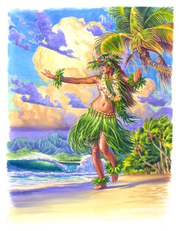 Grass skirt hula girl painting on island beach surf art Phil Roberts