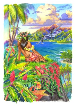 Hawaiian Hula dancer painting, hula girl art by Phil Roberts