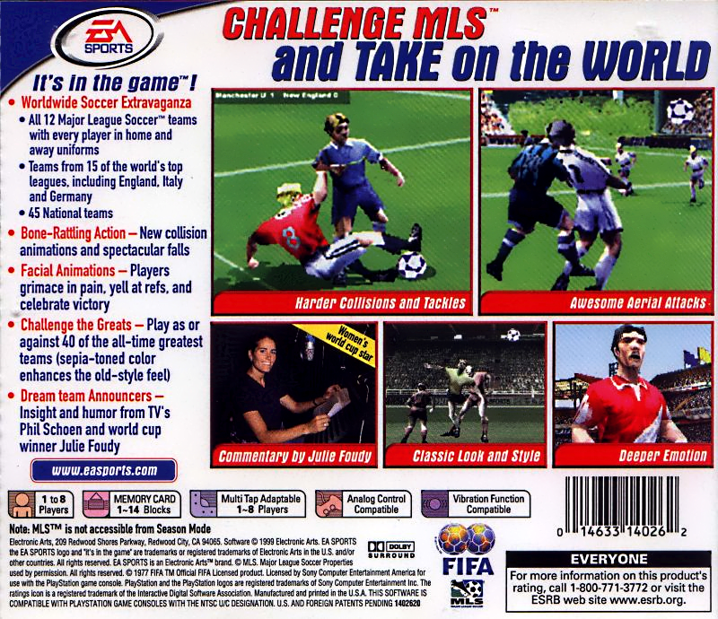 Hmm... Insight AND Humor! A double threat, alongside Julie Foudy on the mic for EA Sports 2000 edition of their legendary FIFA video game.
