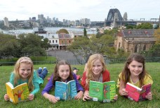 Matilda's Georgia, Bella, Sasha and Molly at Sydney's Observatory Hill. Credit DNSW and James Morgan