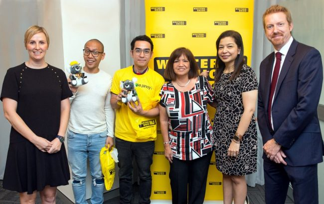 From left to right:  Jolene Mullin, Head of Marketing – Oceania, Mikey Bustos, entertainer; RJ Garcia, Heroes for Better winner;  Benjie de Ubago, Community Relations Manager; Patricia Riingen, Senior Vice President – Southeast Asia and Oceania; and Simon Millard, Country Manager – Australia.