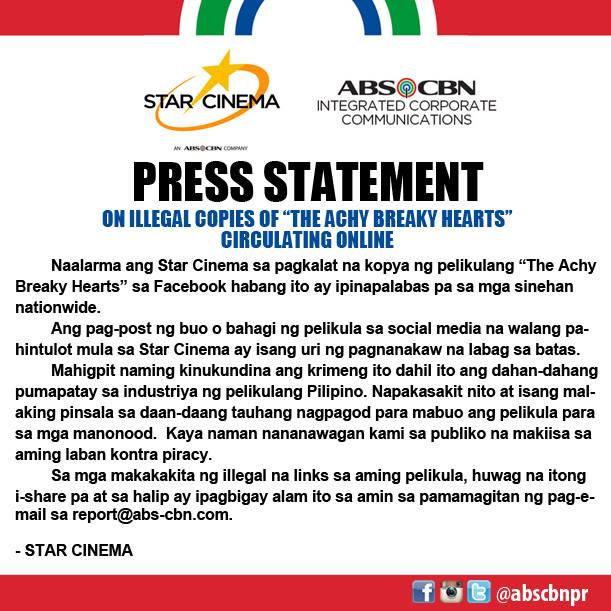 ABS CBN statement