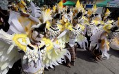 Students from public schools in Makati City participate at the annual celebration of Caracol Festival along A.P Reyes Street on Sunday (Feb. 26, 2017). (PNA photo by Oliver Marquez)