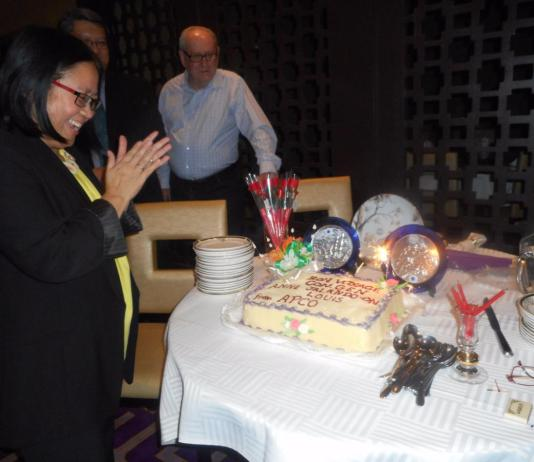 Consul-General Anne surprised by the sparklers which also highlighted her term as Consul-General in Sydney.