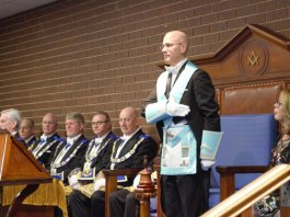 Consul and Freemason Felix Pintado during his installation as Worshipful Master of the Sunshine Wisdom Lodge in West Sunshine.