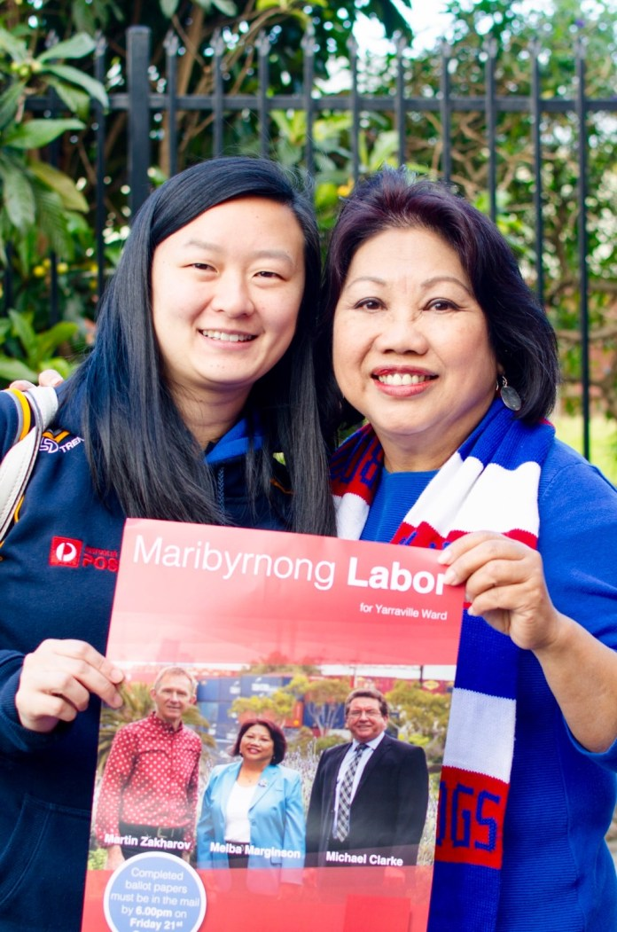 Melba Marginson as Labor candidate in 2016 Maribyrnong Council election.