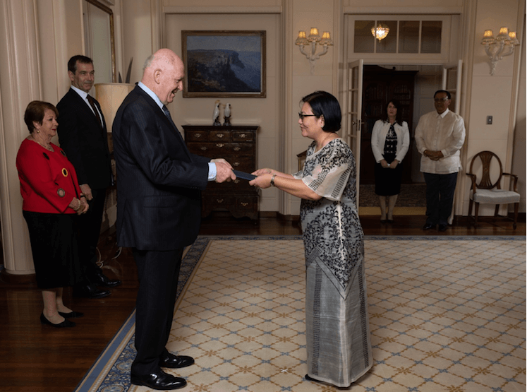 The Ambassador of the Philippines to Australia, Her Excellency Ma. Hellen Barber De La Vega, presented her credentials to the Governor-General of the Commonwealth of Australia, His Excellency General the Honourable Sir Peter Cosgrove AK MC (Retd), at a ceremony held on 29 November 2018 at the Government House in Canberra.