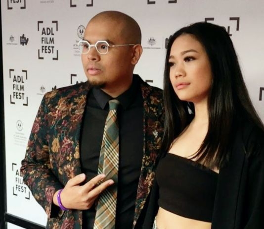 Filmmaker Matthew Victor Pastor and Co-writer and lead actress, Filipino Australian artist Celina Yuen at the Adelaide Film Festival in 2018.