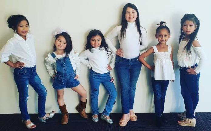 RG mini models: Ailexah-Faye Bigornia, Aurora McEvoy, Lilyah 'Lily' Mary Hawkings, Ava Da Silva, Aliza Kamara and Rica-Lee Calimag Tayag