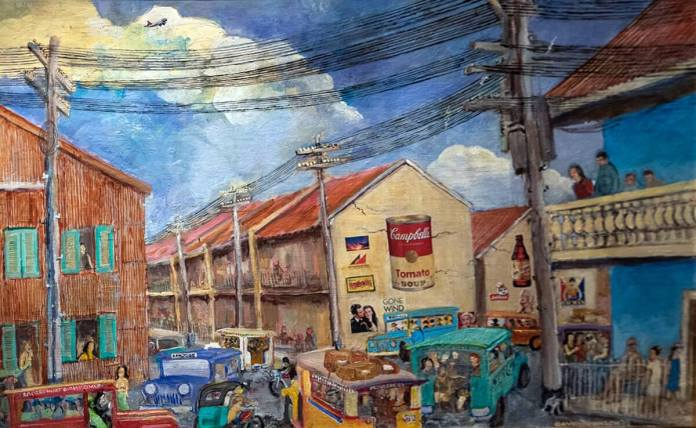 "Mr David Johnson's painting, ""Mayhem in Makati: One quarter, no quarter"""